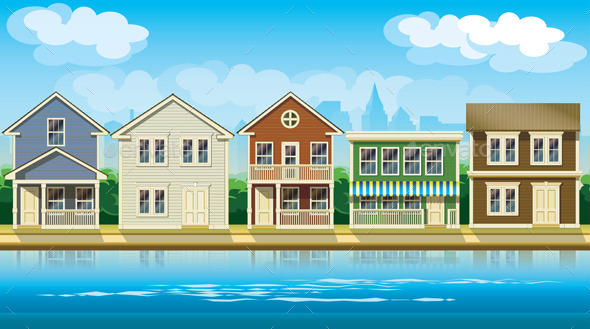 GraphicRiver Houses Suburb 10294577