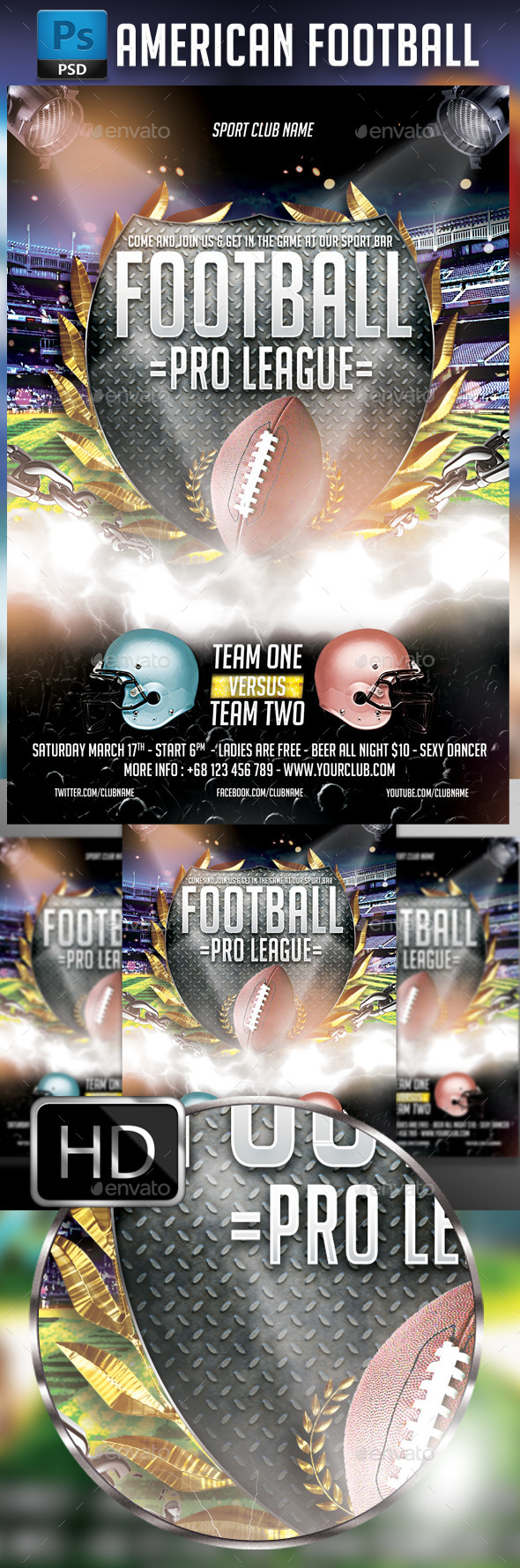 GraphicRiver American Football 10296091