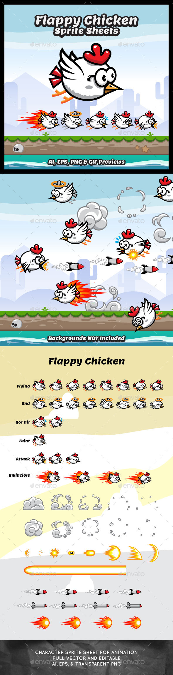 GraphicRiver Game Sprite Sheets Flappy Chicken 10296446