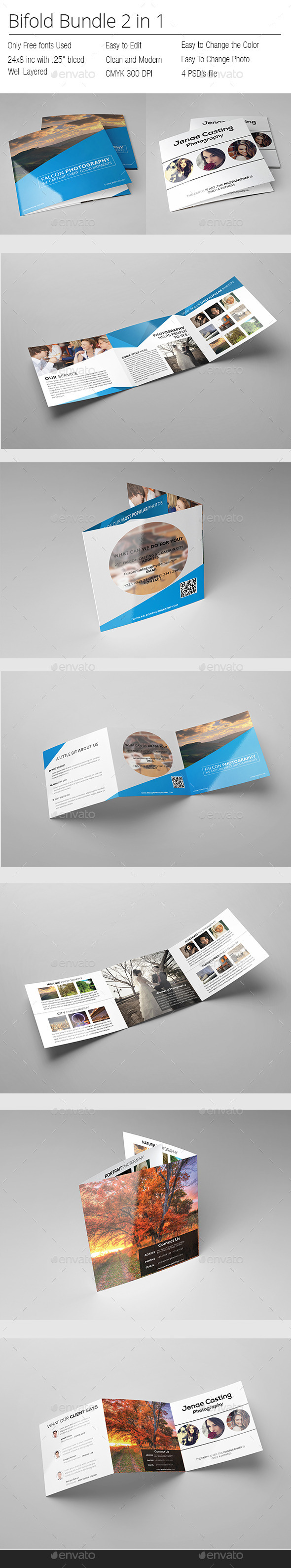 GraphicRiver Photographer Square Bifold Bundle 10236836