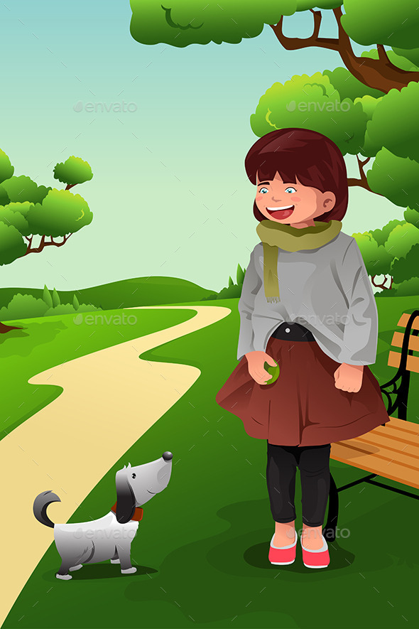 GraphicRiver Girl Playing with her Dog 10296987