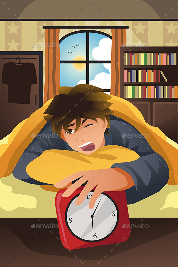 GraphicRiver Sleeping Man Turning Off Alarm 10297070