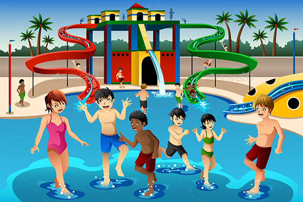 GraphicRiver Kids Playing in a Waterpark 10297125
