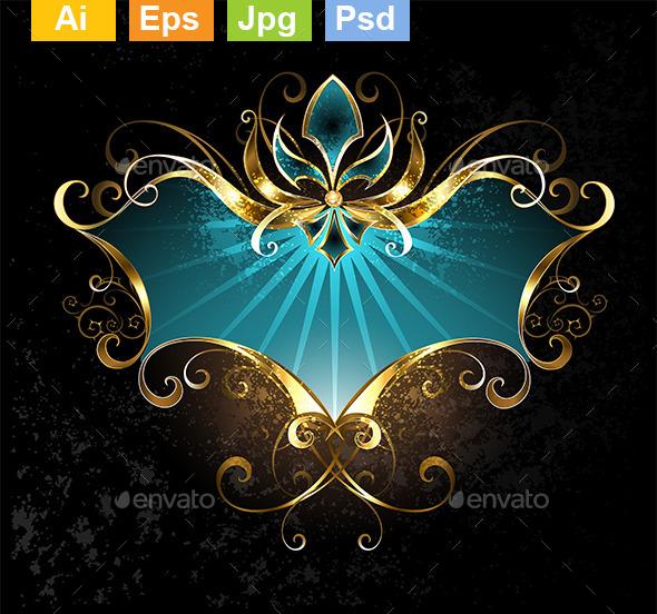 GraphicRiver Turquoise Banner with Fleur-De-Lis 10297378