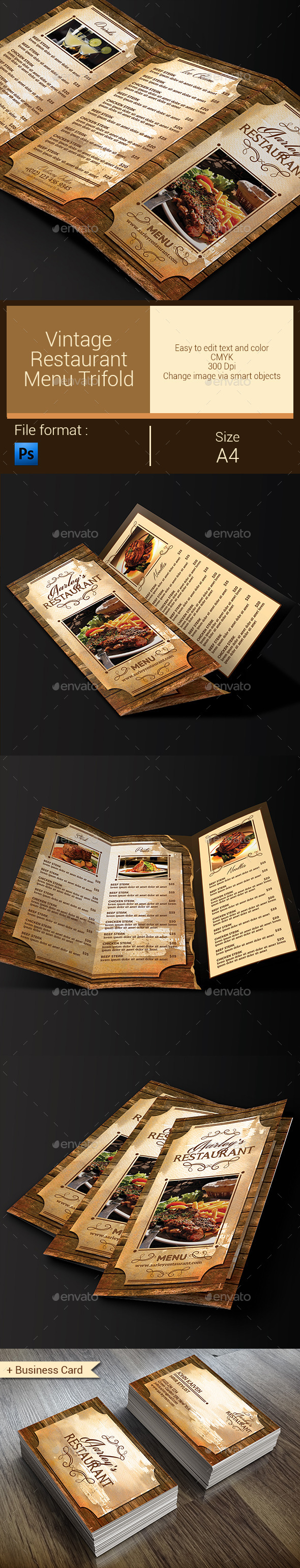 GraphicRiver Vintage Restaurant Menu Trifold & Business Card 10297436
