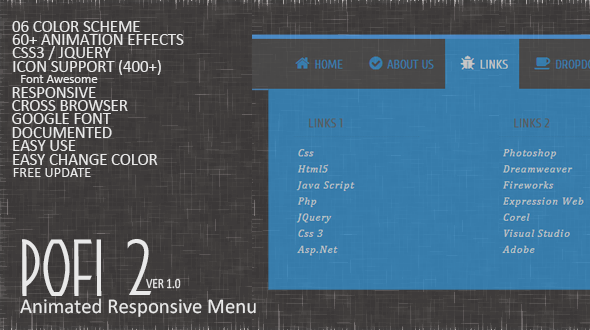 CodeCanyon Pofi 2 Responsive Animated Menu 10297707