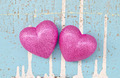 couple of pink hearts on grungy light blue wooden background - PhotoDune Item for Sale