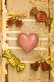 pink hearts with accessory on grungy light blue wood in vintage style - PhotoDune Item for Sale