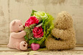 couple of cute  bears holding roses bouquet - PhotoDune Item for Sale