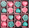 candle roses and candle hearts in wooden box - PhotoDune Item for Sale