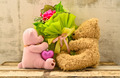 couple of cute bear dolls holding roses bouquet - PhotoDune Item for Sale