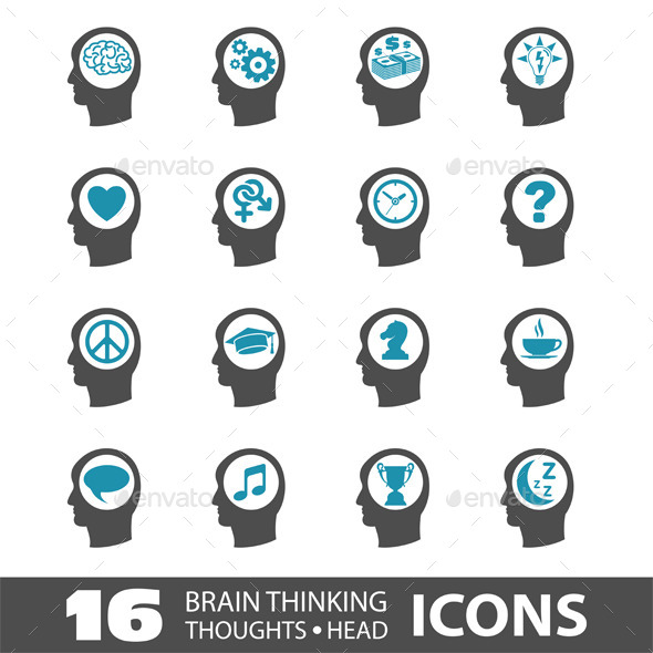 GraphicRiver Thinking Head Icons 10298344