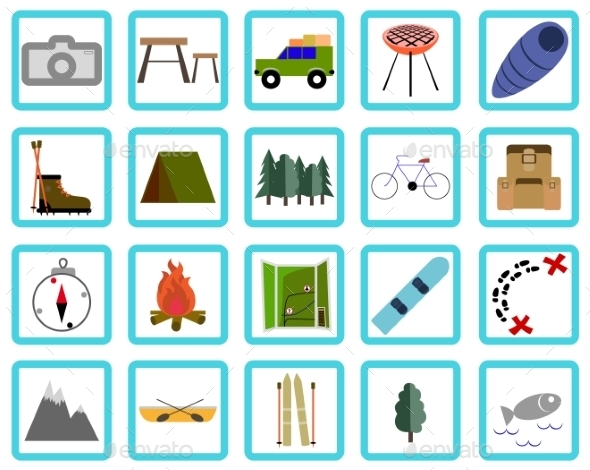 GraphicRiver Vacation Recreation & Travel icons set 10298391