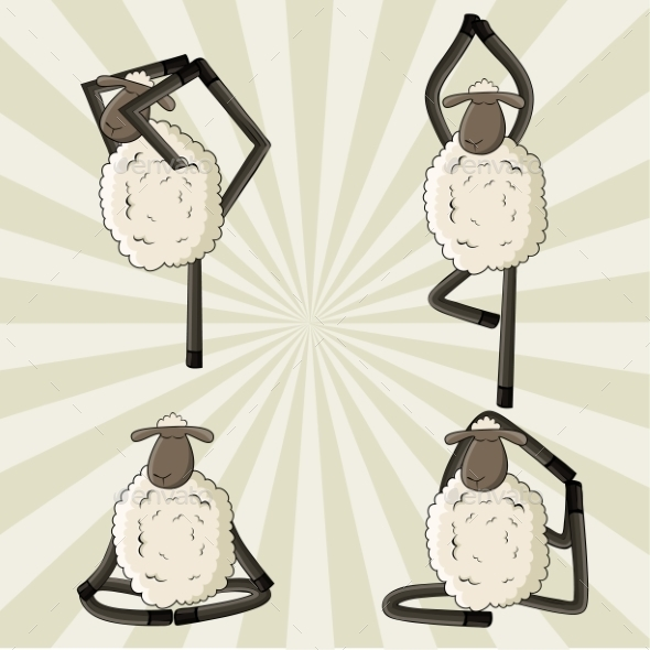 GraphicRiver Yoga Sheep Standing in Different Poses 10298395