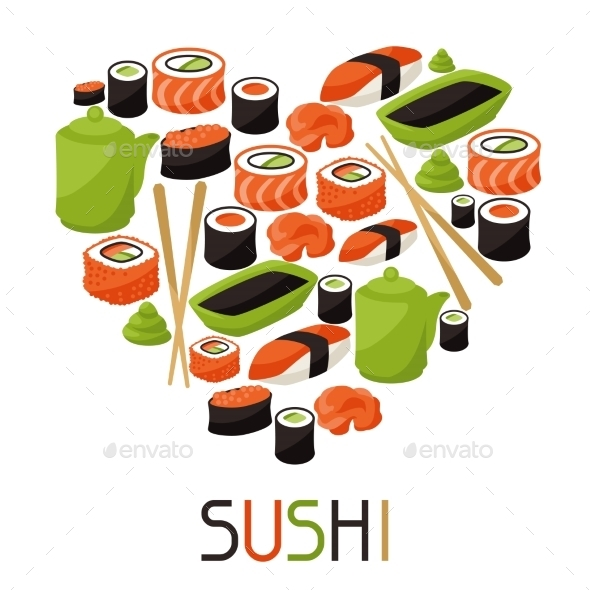 GraphicRiver Background with Sushi 10298655
