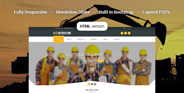 ThemeForest Construction Industrial HTML5 Template 10228378