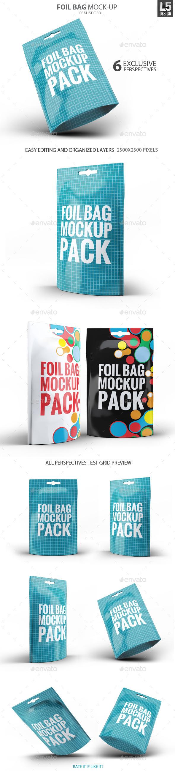 GraphicRiver Foil Bag Pack Mock-up 10299253
