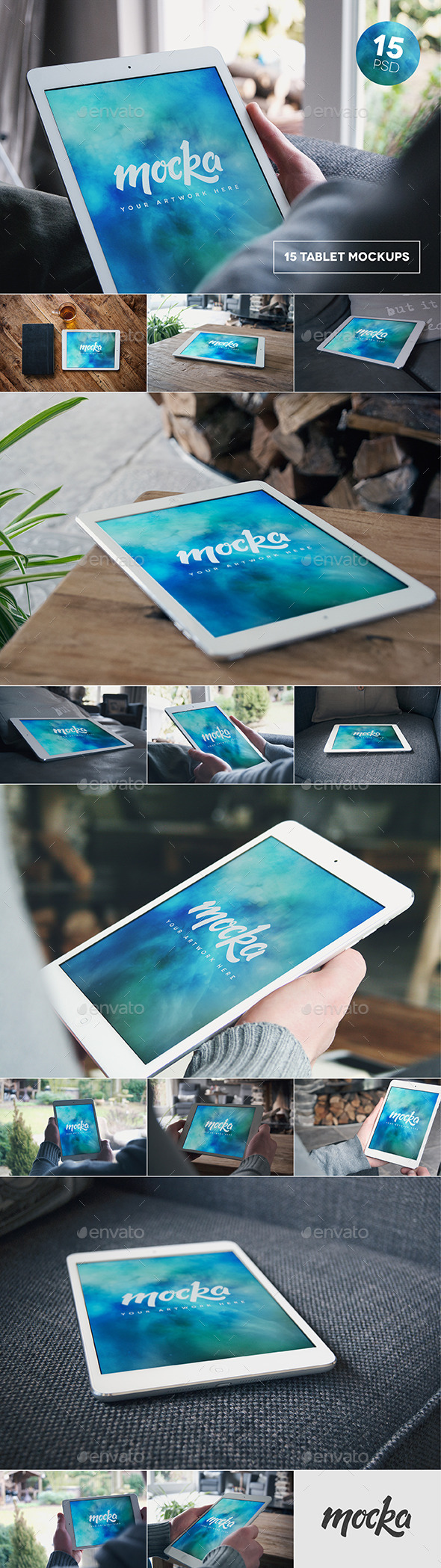 GraphicRiver 15 Tablet Mockups 10241654