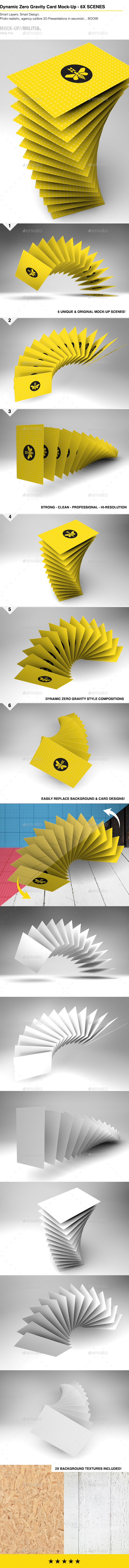 GraphicRiver Floating Flying Gravity Business Card Mock-Up 10299619