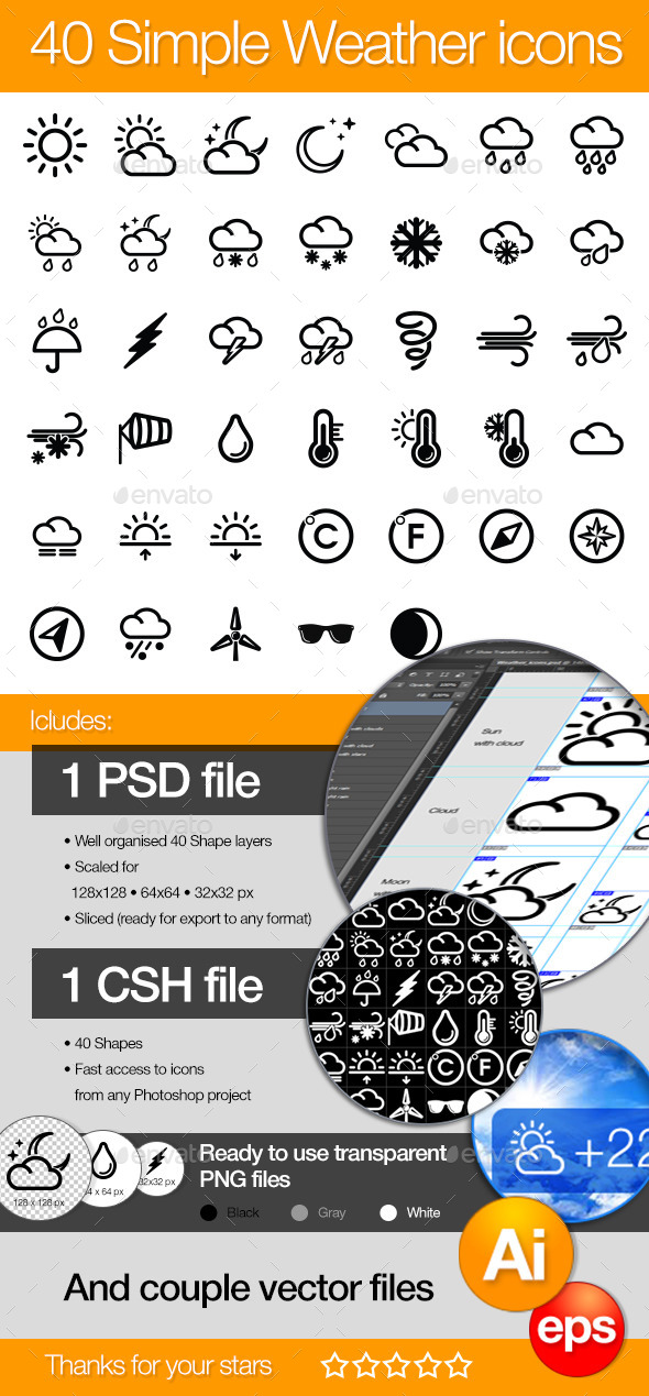 GraphicRiver 40 Simple icons WEATHER 10299741