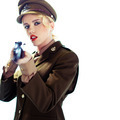 Glamorous army officer aiming a rifle - PhotoDune Item for Sale
