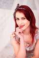 Woman with Burgundy Hair Looking at Camera - PhotoDune Item for Sale