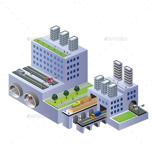 GraphicRiver Isometric Buildings 10300079