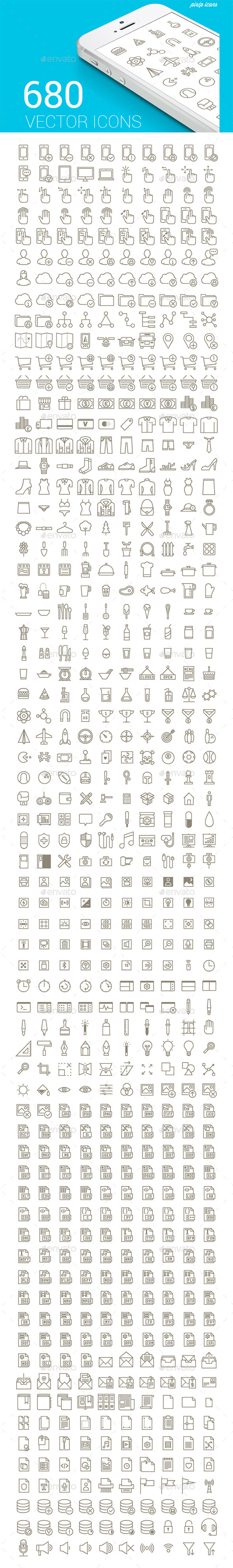 680 Vector Stroke Icons