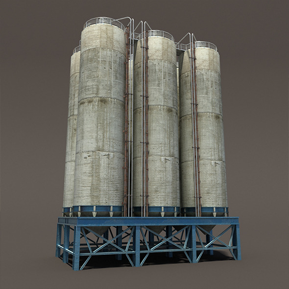 3DOcean Chemical Silos Low Poly 3D Moldel 10300432