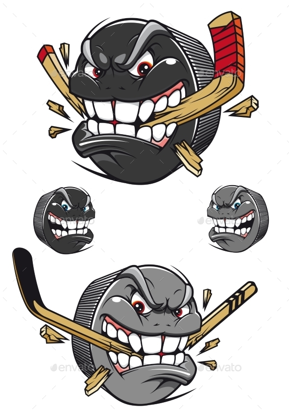 GraphicRiver Angry Evil Hockey Puck Chomping a Stick 10300720