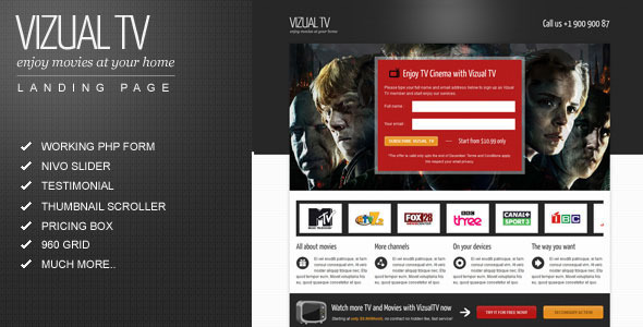 ThemeForest Vizual-tv TV Film movies landing page 1037499