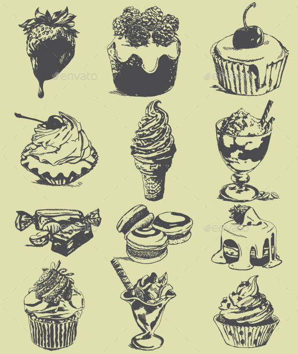 GraphicRiver Set of Sweet Sketches of Food 10302310