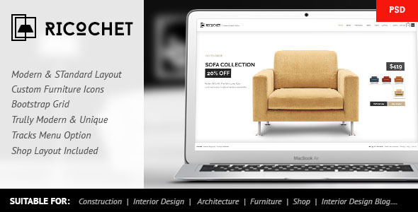 ThemeForest Ricochet Interior Architecture Shop Corporate 10193087