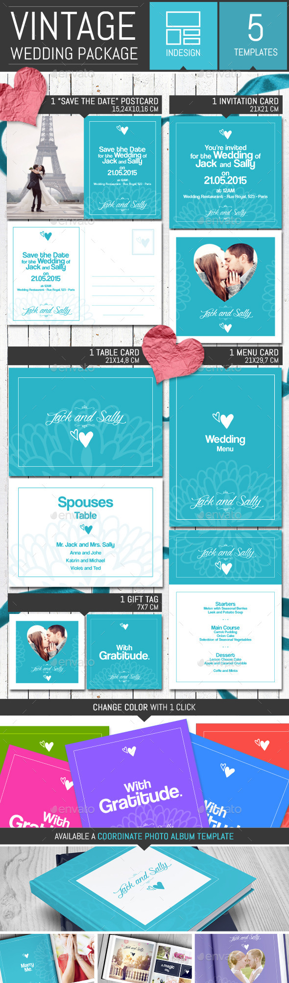 GraphicRiver Vintage Wedding Invitation Pack Template 10302854