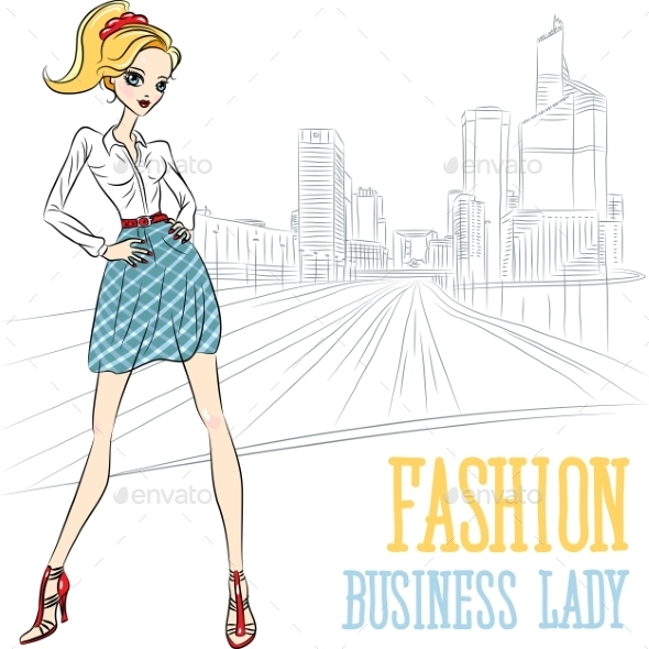 GraphicRiver Fashion Business Girl in Defense 10302856