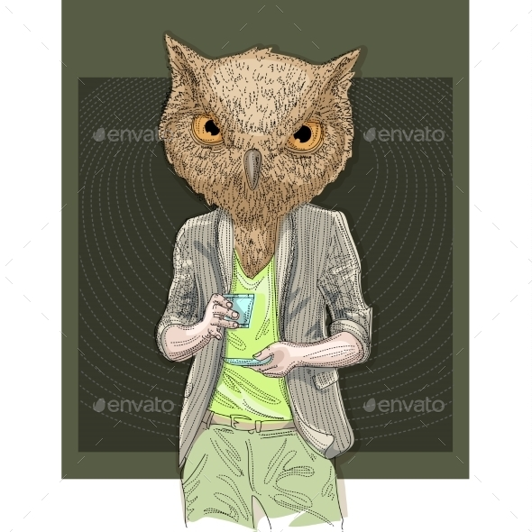 GraphicRiver Owl Man Drinking Coffee 10303794