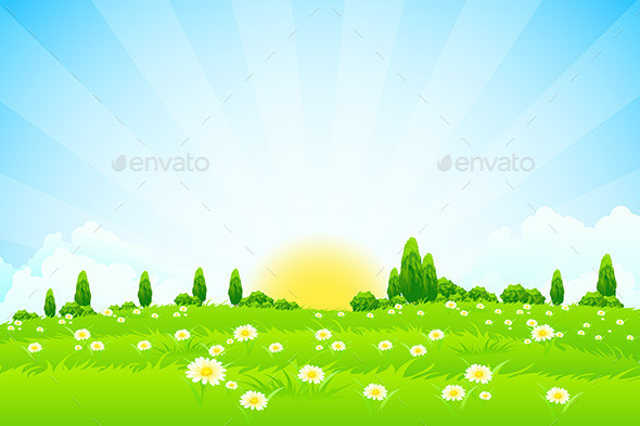 GraphicRiver Green Landscape with Trees 10303975