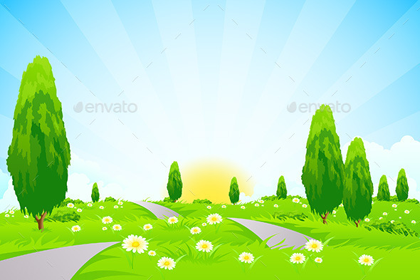 GraphicRiver Green Landscape with Trees 10303989