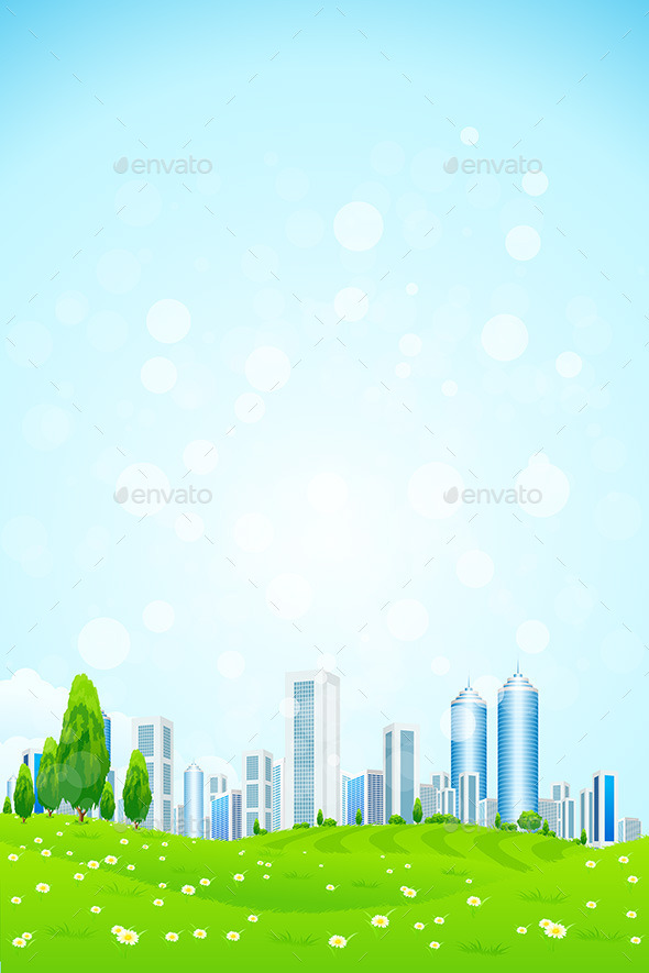 GraphicRiver Green Landscape with City 10304025