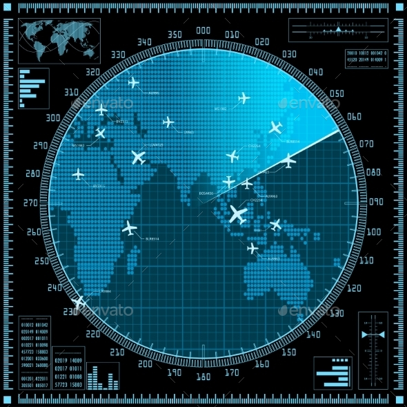 GraphicRiver Blue Radar Screen with Planes and World Map 10304027