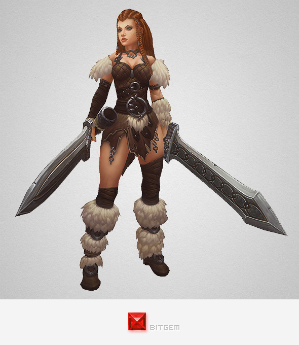3DOcean Low Poly Barbarian Girl 10304575