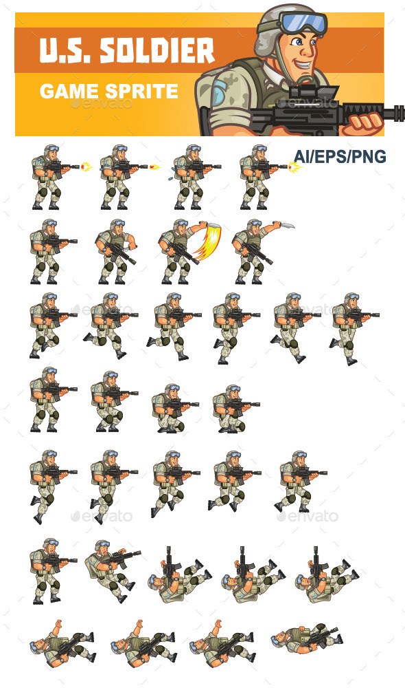 GraphicRiver U.S Soldier Game Sprite 10304843