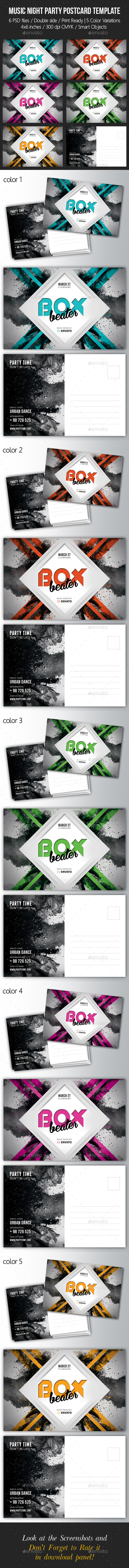 GraphicRiver Music Night Party Postcard Template V03 10305036