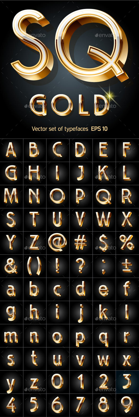 GraphicRiver Illustration of Golden 3D Alphabet 10305564