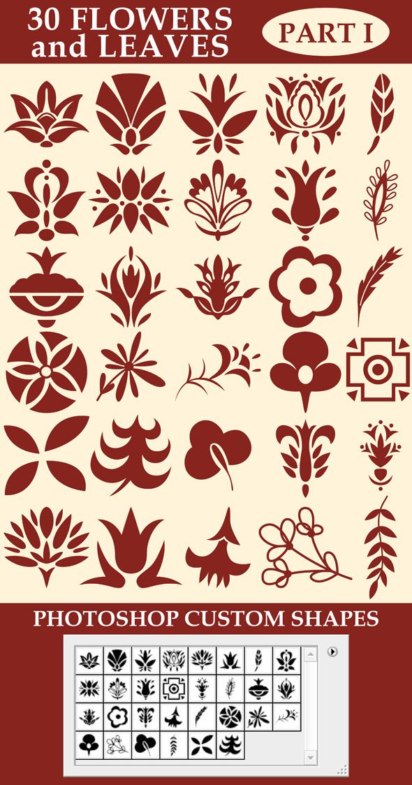 GraphicRiver Flowers and leaves custom shapes 10156774