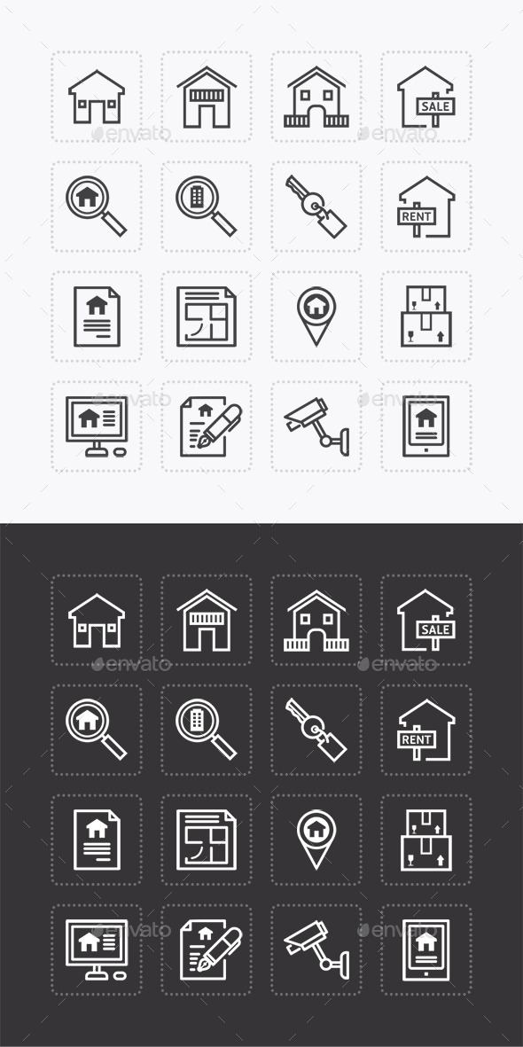 GraphicRiver Vector Flat Icons Set Real Estate Property Outline 10305906