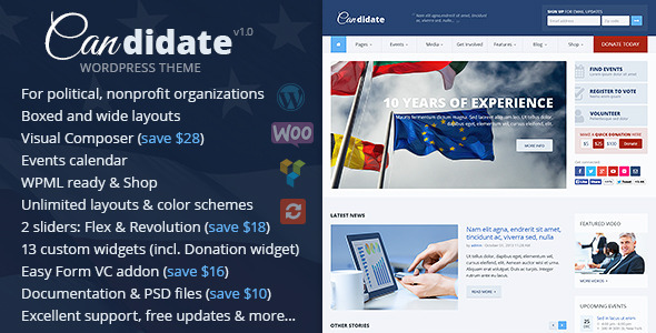 ThemeForest Candidate Political Nonprofit Wordpress Theme 10051778