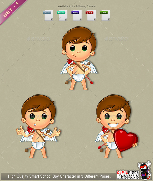 GraphicRiver Little Cupid Character Set 1 10306214
