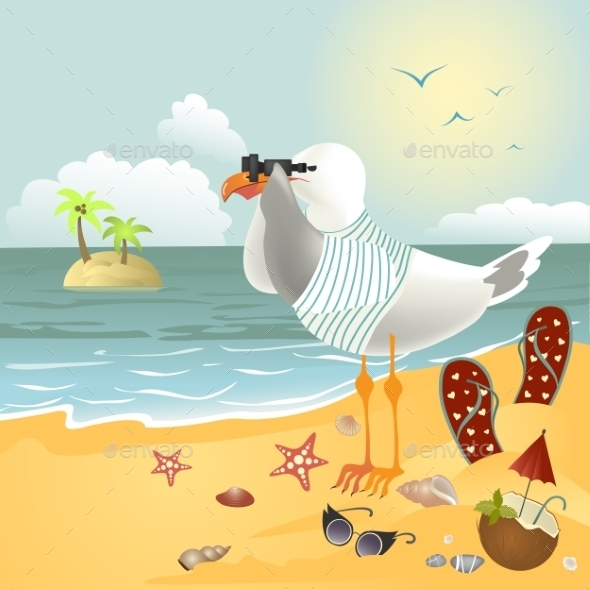 GraphicRiver Seagull on the Beach 10306328