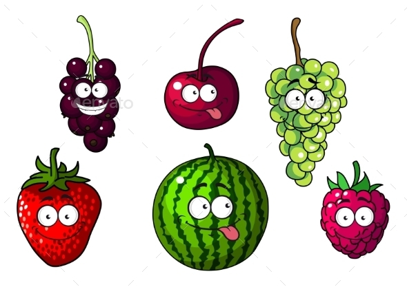 GraphicRiver Happy Colorful Cartoon Fruits and Berries 10306440